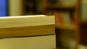 Books in the living room stock video footage