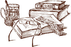 books livstid fortfarande royaltyfri illustrationer