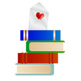 Books with a Love Note. A cute cartoon of books with a love note Royalty Free Stock Images