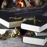 Books lying on a table in front of a fireplace Stock Images