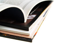 Books and magazines. Book and magazines on white background Stock Images