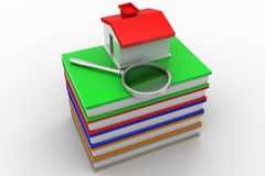 Books with magnifier and a toy house Stock Photography