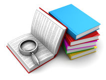 Books and magnify glass. 3d illustration of books and magnify glass, over white background Stock Image