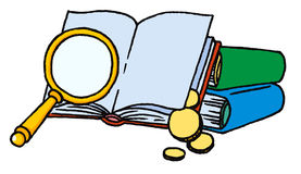 Books with magnifying glass Stock Images