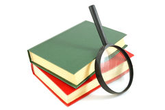 Books and magnifying glass. Two books and magnifying glass on isolated Royalty Free Stock Photos