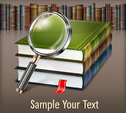 Books and magnifying glass on table Stock Photos