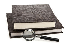 Books and magnifying glass Royalty Free Stock Image