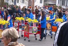 Books on the March in the Daffodil Parade Stock Image