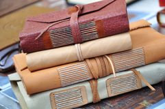 Books in medieval binding royalty free stock photo