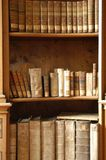 Books in a Midieval library. Old books stock photos