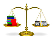 Books and money on scales. Isolated 3D Stock Image