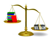 Books and money on scales. Isolated 3D Royalty Free Stock Photography