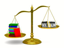 Books and money on scales. Isolated 3D Royalty Free Stock Photos