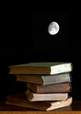 Books and Moon Stock Image