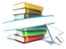Books and mouse cursor on white background Stock Photo