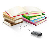 Books and mouse e-learning Royalty Free Stock Image