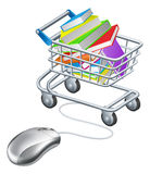 Books mouse internet trolley. Books in a shopping trolley or cart connected to computer mouse, concept for online education or shopping for books on the internet Stock Image