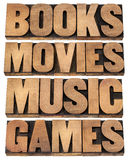Books, movies, music and games Royalty Free Stock Images