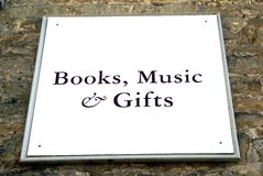 Books, Music, & Gifts sign Royalty Free Stock Photo