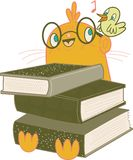 Books are my friends. A cartoon character holding three books with a bird singing in his ear royalty free illustration