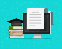 Books near computer vector illustration, flat cartoon study concept and text document on pc screen, concept of studying. Books near computer vector illustration royalty free illustration