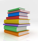 Books Neatly stacked. Neatly stacked colourful hardcover books. 3D rendered Isolated on White Background Royalty Free Stock Image