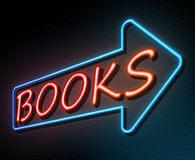 Books neon concept. 3d Illustration depicting an illuminated neon sign with a books concept Stock Images