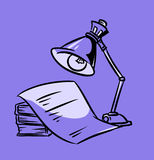 Books night lamp cartoon Royalty Free Stock Photo
