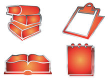 Books & note-pads. A pair of note-pads and a few books in orange in a white background Stock Photos