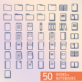 Books and Notepad pixel perfect ouline icons Royalty Free Stock Photos