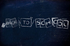 Books and notes composing the text Back to school Royalty Free Stock Photography