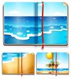 Books with ocean scenes. Illustration stock illustration