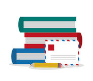 Books of office and work design. Books email and pencil  icon. Office work supplies and objects theme. Colorful design. Vector illustration Royalty Free Stock Image