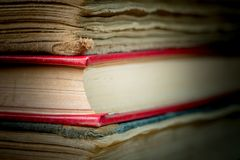 Books in the old cover close up. Ancient books. A bunch of old books Royalty Free Stock Photos
