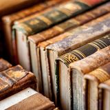Books. Old manuscripts background stock images