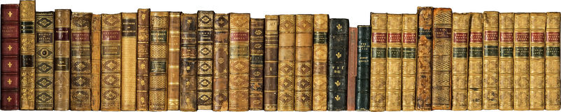 Books old vintage antique in a row Stock Images