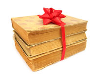 Books Old Vintage Packed As Gift With Red Bow Stock Image