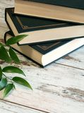 books on old wooden background royalty free stock photos