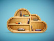 Books On Wooden Shelf Cloud Shape Stock Photo