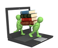 Books online. Conceptual image - library online. 3d render Royalty Free Stock Photos