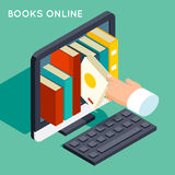 Books online library isometric 3d flat concept. Internet knowledge, web online, study technology, computer screen, vector illustration vector illustration