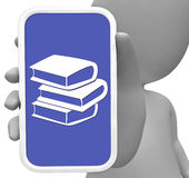 Books Online Represents Mobile Phone And Portable 3d Rendering. Books Online Showing Mobile Phone And Education 3d Rendering Royalty Free Stock Photo