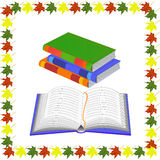 Books and open book in the autumn frame Royalty Free Stock Photo
