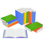 Books and open book. On a white background Royalty Free Stock Images