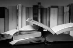 Books. Open books on a desktop Stock Photo