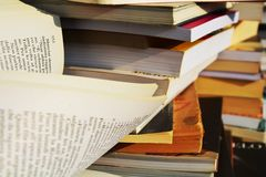 Books, open pages, education concept, close up Royalty Free Stock Images