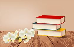 Books and orchid on the table, vector vector illustration