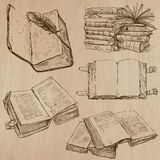 Books. Pack of an hand drawn vectors Stock Images