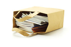 Books in paper bag Royalty Free Stock Images