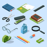 Books, paper documents in folders, and other base stationary elements set. Vector isometric office equipment. Stationary element scissor and stapler Stock Image